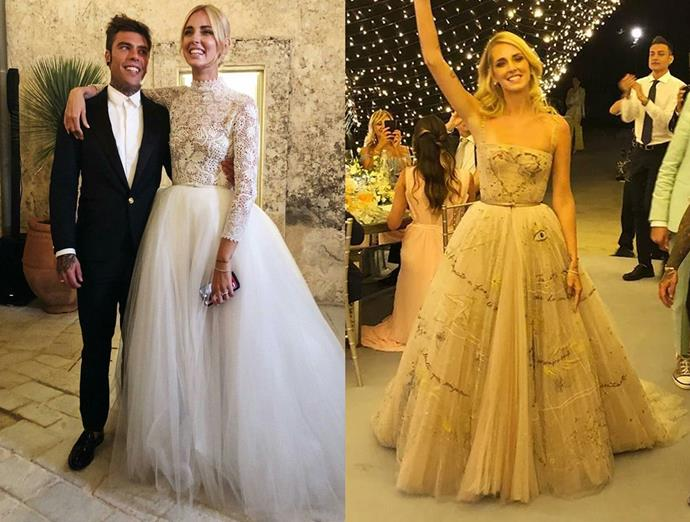 ***Chiara Ferragni***<br><br> Following her blow-out wedding, blogger Chiara Ferragni changed several times, but this embellished Dior dress (right) was a highlight.
