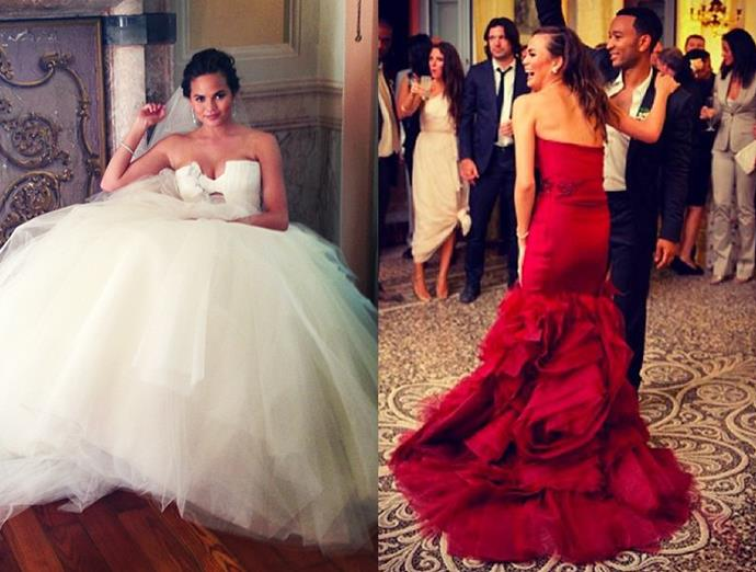 ***Chrissy Teigen***<br><br> Teigen's voluminous tulle gown for the ceremony was swapped for a crimson dress for the dance floor.