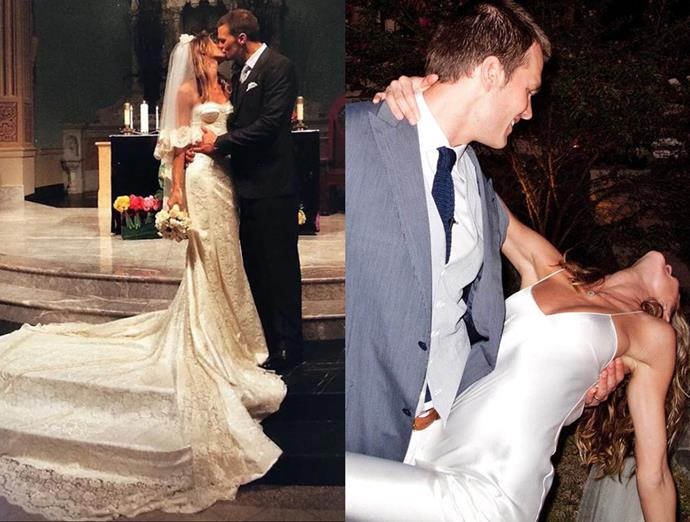 ***Gisele Bündchen***<Br><br> Celebrating the ceremony in a traditional strapless lace gown, Bündchen slipped into a slip to dance.