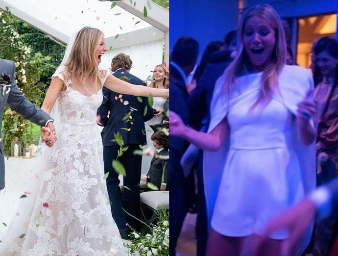 ***Gwyneth Paltrow***<br><br> Marrying her partner Brad Falchuk in the Hamptons, Paltrow wore a Valentino lace gown with blush-pink underlay for the ceremony and a caped playsuit for the reception.