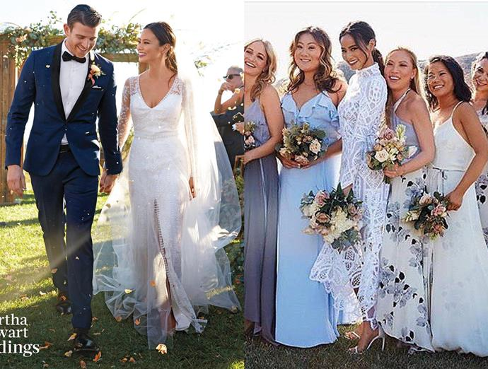 ***Jamie Chung***<br><br> Jamie Chung's Monique Lhuillier lace gown was swapped for a high-necked embellished dress for the reception.