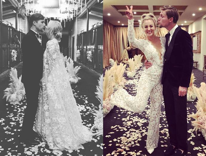 ***Kaley Cuoco***<br><br> After wearing a caped lace gown for her wedding to Karl Cook in 2018, Cuoco wore a lace jumpsuit for the dancing later.