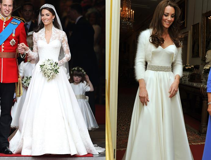 ***Kate Middleton***<br><br> One of the most iconic wedding dresses in history, Kate Middleton's lace Sarah Burton for Alexander McQueen gown was followed up by an A-line strapless dress with matching white bolero and jewelled belt.