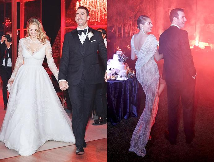 ***Kate Upton***<bR><br> Model Kate Upton went traditional for the ceremony, donning a white lace Valentino gown with full-length sleeves and a full skirt, but for the night's reception, changed into a sheer silver dress by New York-based Christy Rilling Studio.