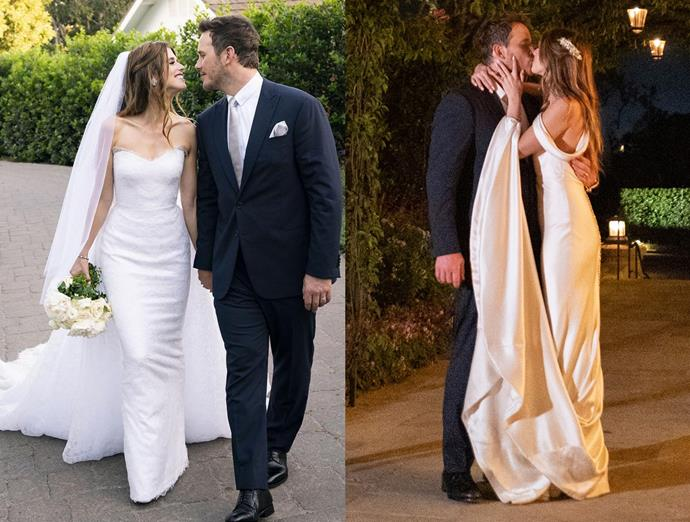 "***Katherine Schwarzenegger***<br><br> Armani Privé was responsible for both of Katherine Schwarzenegger's wedding looks—the first, a strapless lace gown with train, and [the second](https://www.harpersbazaar.com.au/fashion/katherine-schwarzenegger-second-wedding-dress-18797|target=""_blank"") a column gown featuring draped shoulders."