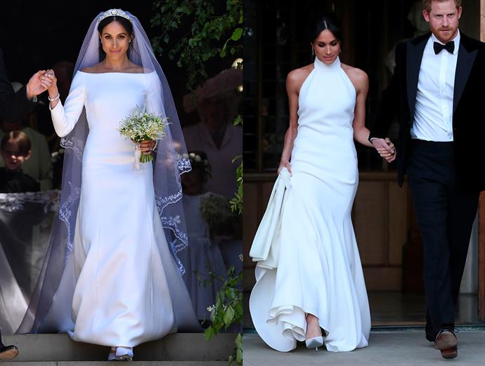 ***Meghan Markle***<br><br> Meghan Markle—now the Duchess of Sussex's—Givenchy wedding gown was instantly iconic, but her reception dress, a halterneck gown by Stella McCartney, held its own.