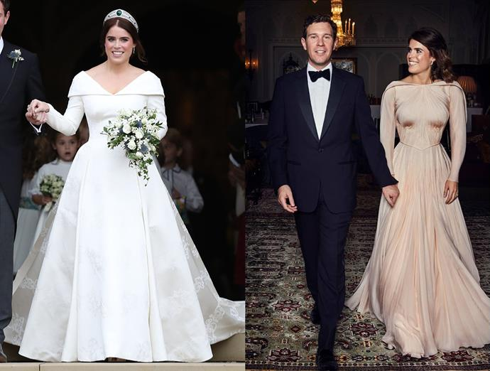***Princess Eugenie***<br><br> After wearing Peter Pilotto and Christopher De Vos for Peter Pilotto (and scandalously forgoing a veil), Princess Eugenie changed into a blush-coloured gown by Zac Posen for the reception at the Royal Lodge in Windsor Great Park.