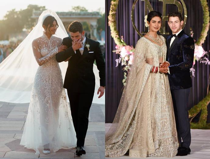 ***Priyanka Chopra***<br><br> For her lavish three-day wedding in India, Priyanka Chopra went through more than one outfit change, but we'll just list our favourite. After wearing lace Ralph Lauren for the Christian ceremony, this champagne-coloured embellished lengha followed for the reception... at least, for one of them.