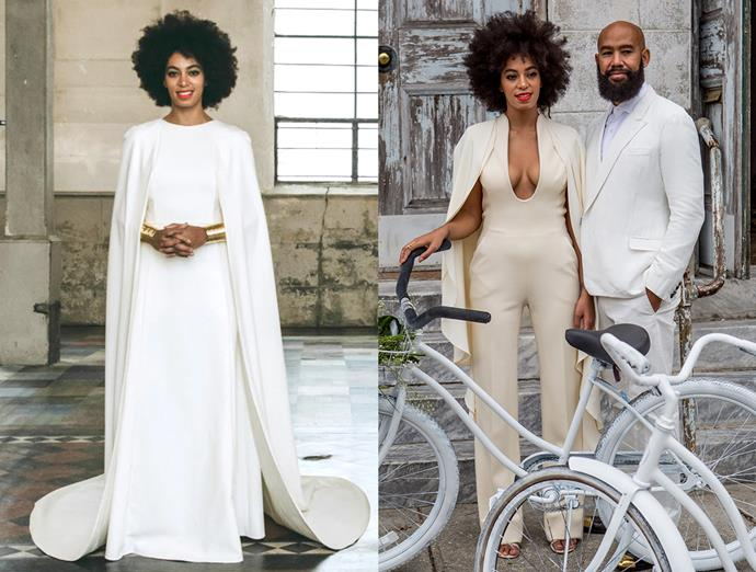 ***Solange Knowles***<br><Br> For her all-white wedding to Alan Ferguson in 2014, Solange started with a Humberto Leon for Kenzo caped gown, after which she changed into a caped pantsuit to exit on bicycles.