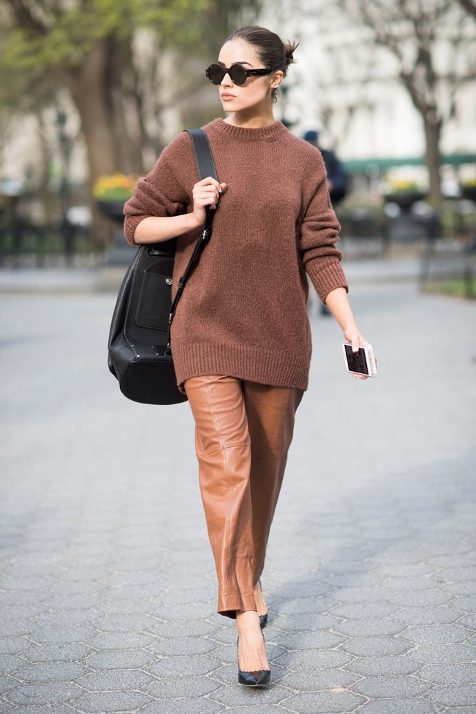 **A turtleneck jumper or crew-neck knit**