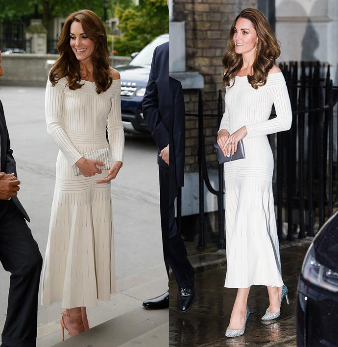 "***Barbara Casasola jersey dress***<br><br> After first seeing this off-the-shoulder jersey dress in 2016, Kate [rewore it in 2019](https://www.harpersbazaar.com.au/fashion/kate-middleton-silver-shoes-18804|target=""_blank""