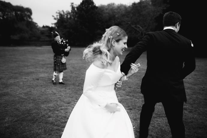 **Was there anything the groom was particularly keen on including in the wedding?** A bagpiper!