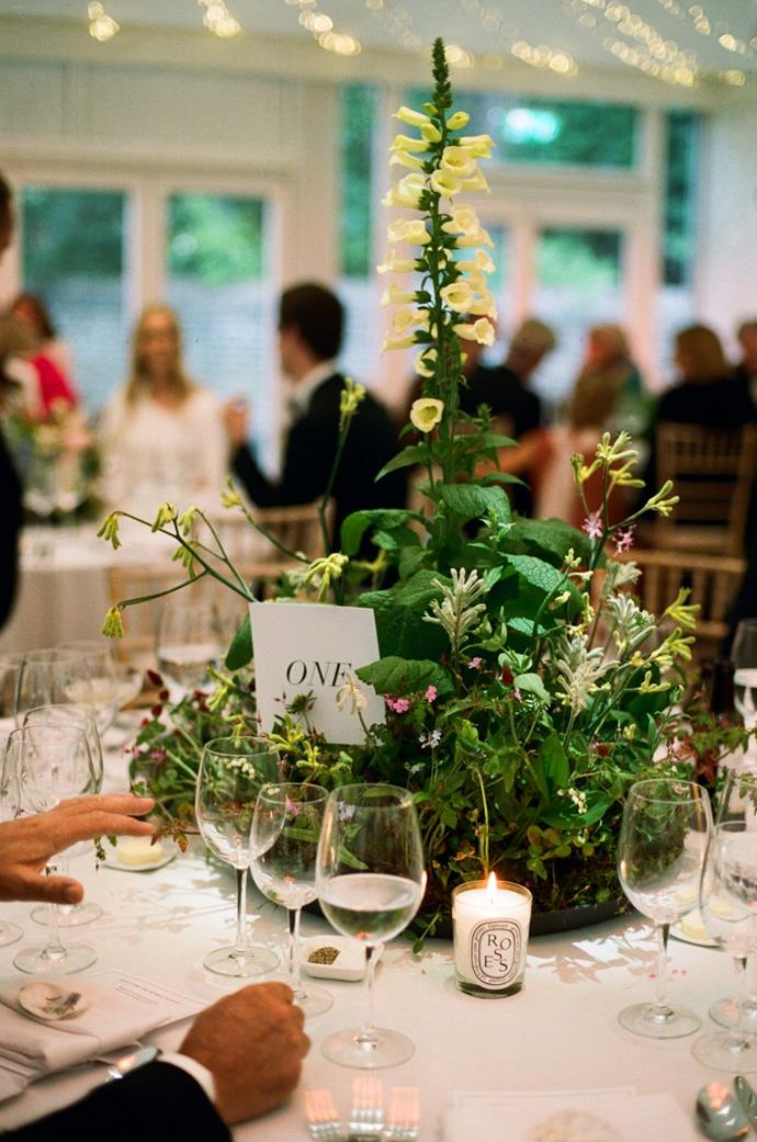 **On the flowers:** She did the same thing for the tables in the marquee, planting trays of different combinations of wild flowers weeks before the wedding and letting them grow so they were at their peak for the wedding. All of which have since been replanted at a charity in London, Roots and Shoots.
