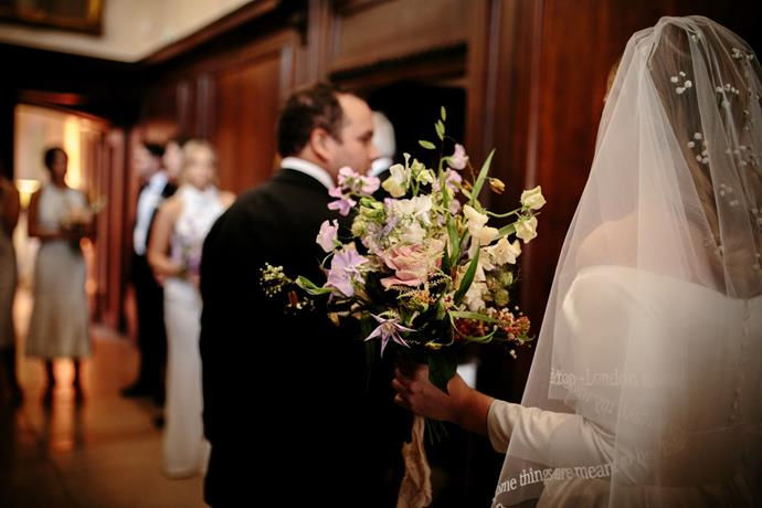 **On the flowers:** I also had sprigs of Gypsophila in my hair and in my bouquet. Each bridesmaid also carried a different colour bouquet, and mine was made up of all of those different flowers.