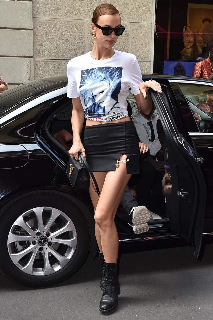 Wearing a mini-skirt and a t-shirt in Milan.