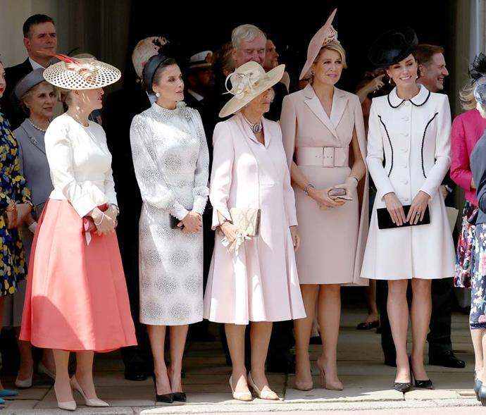 Sophie, Countess of Wessex; Queen Letizia of Spain; Camilla, Duchess of Cornwall; Queen Maxima of the Netherlands; and Catherine, Duchess of Cambridge.