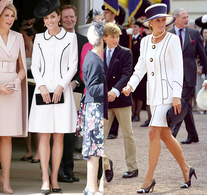 *In a knee-length white look with black piping and black accessorises.*<br><br> Diana in 1995 / Kate in 2019.