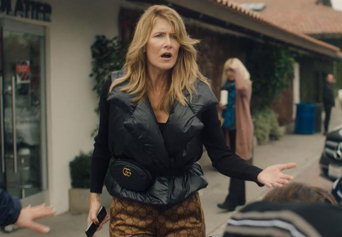 ***Renata's Norma Kamali puffer vest with Gucci pants and a Gucci bum bag: Episode two***<br><br>  Renata may have been in the middle of a meltdown but she still looked stylish to a fault in her Norma Kamali puffer vest and Gucci bum bag. <br><br> *Image: HBO*