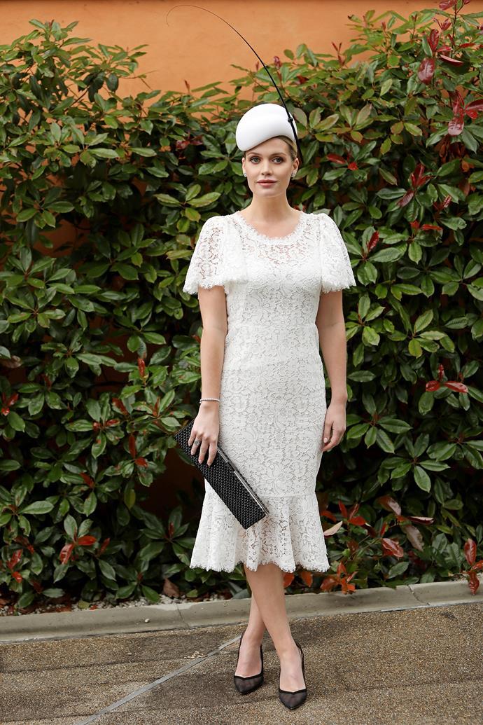 Lady Kitty Spencer wearing a Dolce and Gabbana dress, Philip Treacy fascinator, Aquazzura heels and Bulgari jewellery