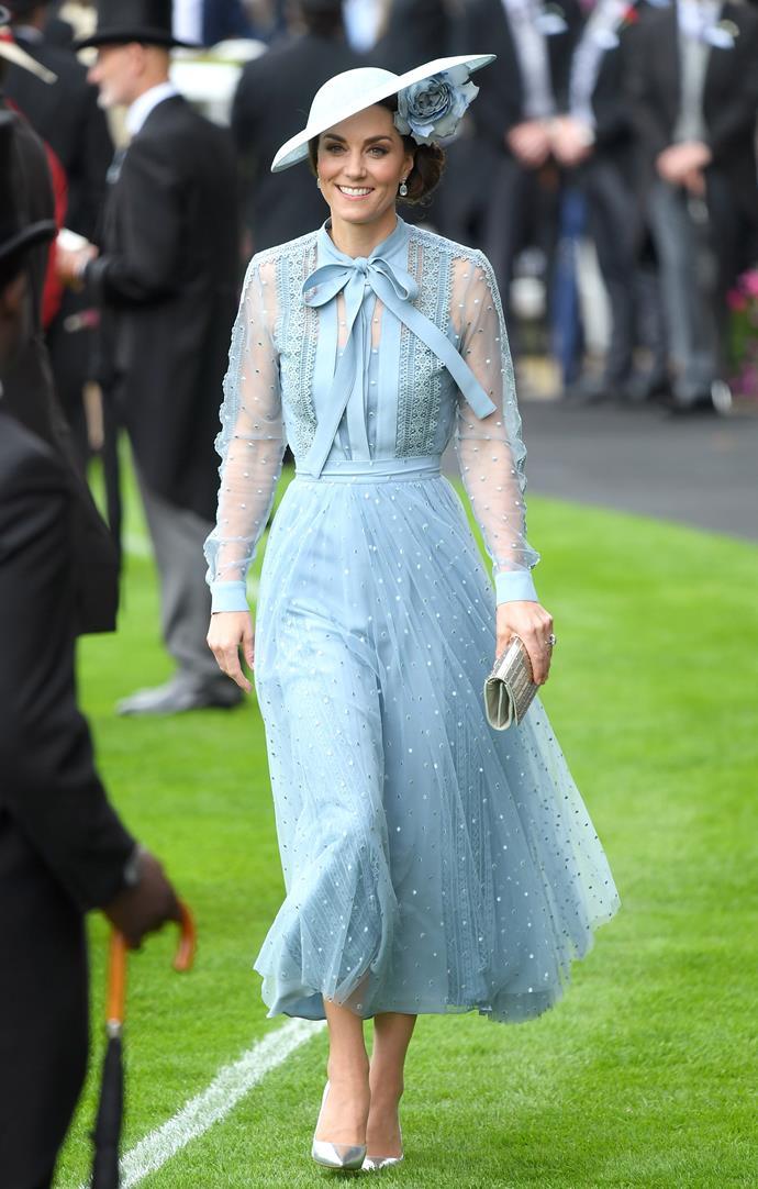 Catherine, Duchess of Cambridge, wearing an Elie Saab dress, Philip Treacy hat, Gianvito Rossi heels, an Elie Saab clutch and Kiki McDonough earrings