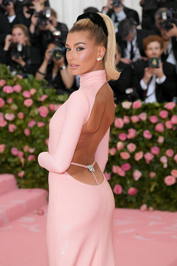Hailey Bieber attending the 2019 Met Gala in Alexander Wang.