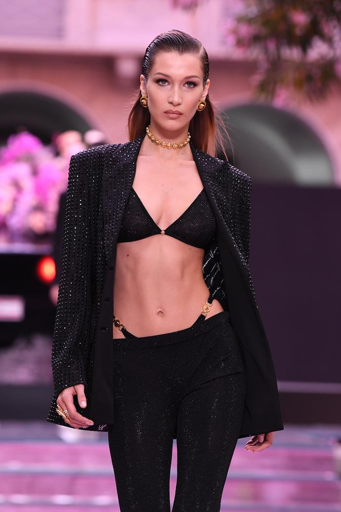 Bella Hadid walking the Versace Men's spring/summer '20 show in Milan.