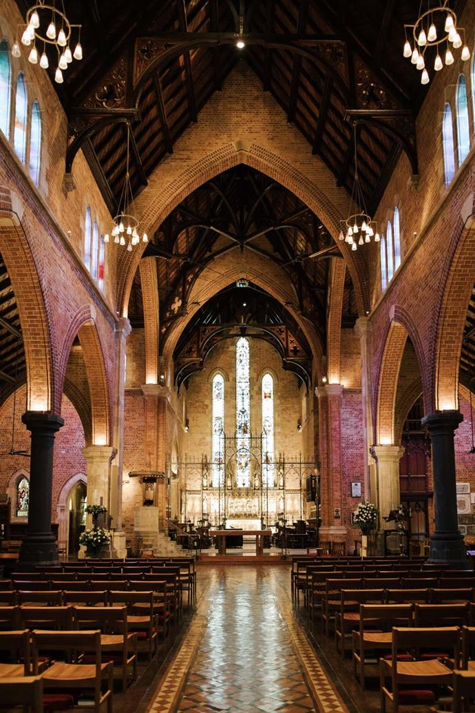 **On how they chose the location:** The cathedral is very special to my family as it is where my parents were married, my brother and I were christened and where my school held annual services. It is one of the most beautiful cathedrals and made the ceremony feel very special. We felt very privileged to get married there. For the reception, we knew we wanted somewhere close for guests to travel to and still somewhere that was 'on theme'. We were lucky through family to be able to use a nearby private residence that has a heritage house and matching gardens—it very much has an old English countryside feel. Both locations complemented the other perfectly and completed our vision for the day.