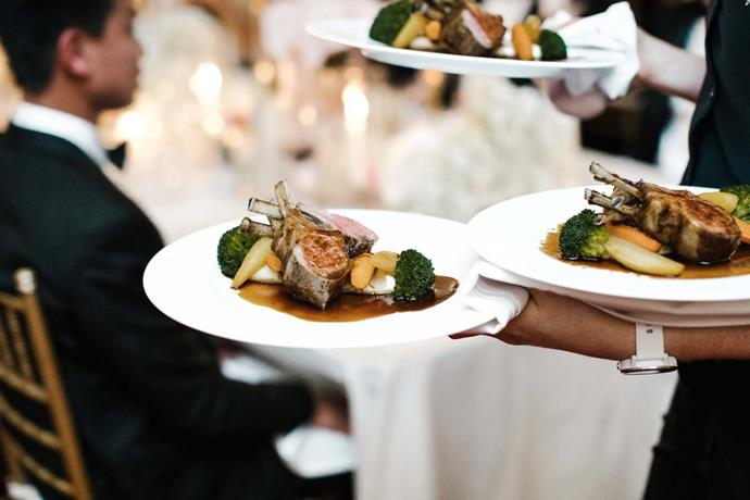 **On the catering:** We had a menu that reflected our favourite foods including oysters, grilled ocean trout with puffed grains, rack of lamb and poached pear with salted caramel sauce. The food was complemented well by Western Australian wine and French champagne.