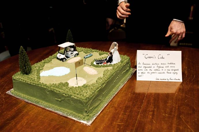 **On the groom's cake:** Nick was adamant about having a groom's cake! This was something I had never heard of before but soon learnt it is an American southern tradition whereby the cake is decorated to reflect the groom's interests. My husband is a keen golfer so he (with assistance from my mum) had part of his golf club baked into a three layer chocolate ganache cake. The guests loved it and it was eaten just as quickly as the main cake!