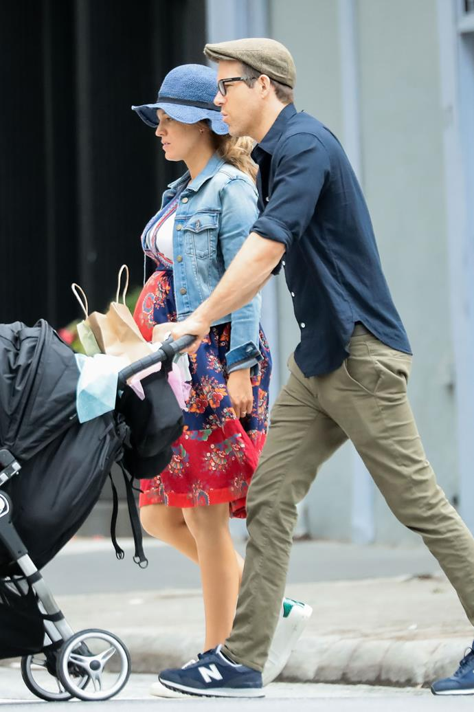 **June 19th, 2019** <br><br> In a rare off-duty style outing, Lively was seen with her husband, Ryan Reynolds, showing off her baby bump in a floral sundress and denim jacket, accessorising with a broad-brimmed hat and Adidas sneakers.