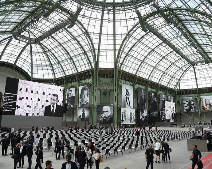 Inside the Grand Palais, before the service.