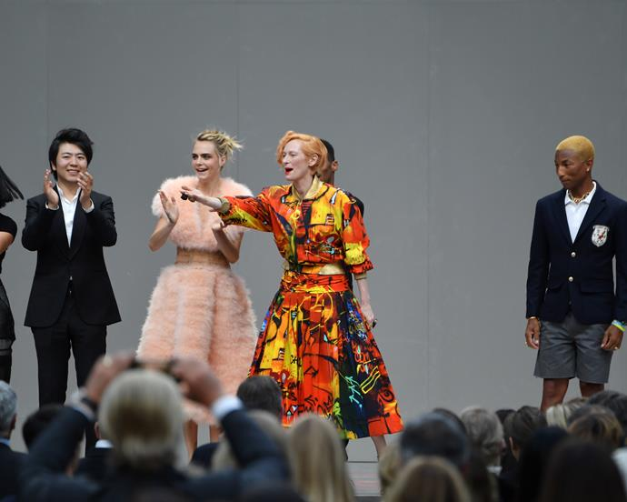 From left to right: Lang Lang, Cara Delevingne, Tilda Swinton, and Pharrell Williams.