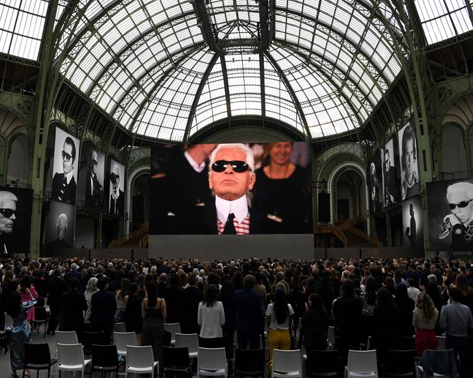 The tributes to Lagerfeld brought audience members to their feet.