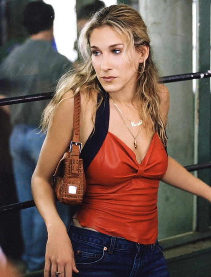 **1999-2000: *Fendi 'Baugette' handbag*** <br><br> Sarah Jessica Parker (AKA Carrie Bradshaw) paved the way for the 'Baguette' bag when she wore it on *Sex and the City*. <br><br> The uncharacteristically small bag went on to become one of the defining bags of the '90s, and was produced in hundreds of different styles.