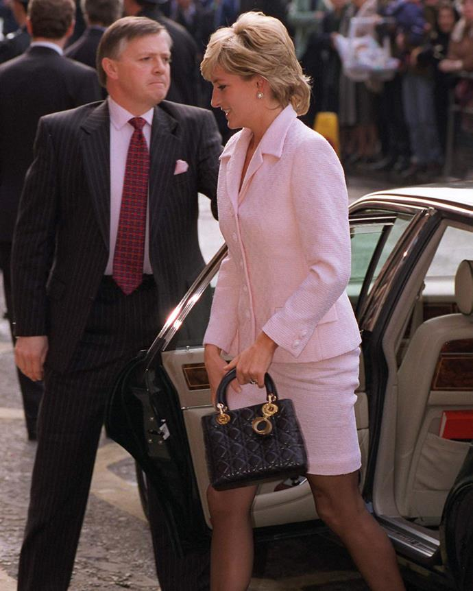 **1996: *Christian Dior 'Lady Dior' bag*** <br><br> In 1995, Diana, Princess of Wales was presented with her very own custom Dior handbag, named the 'Lady Dior' in her honour. <br><br> When the bag hit the market, it became one of the most recognised pieces of the '90s, even more so after her tragic death in August 1997.