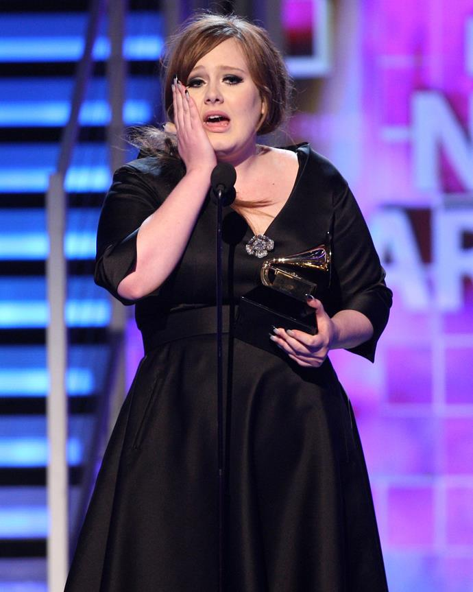 Adele looks almost unrecognisable from her younger self, pictured here at the Grammy Awards in 2009.