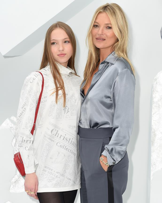 Kate Moss and Lila Moss at Dior Homme spring/summer '20 on June 21, 2019.