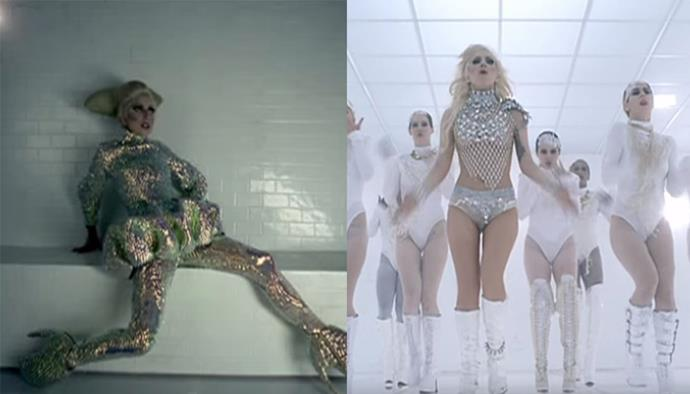 **'Bad Romance' by Lady Gaga (2009)** <br><br> We're just as astounded watching the 'Bad Romance' video today as we were 10 years ago. Gaga introduced viewers to a world of bejewelled lingerie, full-body latex, and plenty of Alexander McQueen (including the famous 'Armadillo' heels from the late designer's very last collection).