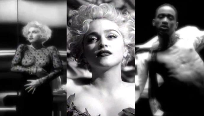 **'Vogue' by Madonna (1990)** <br><br> For the black-and-white 'Vogue' video, Madonna wanted to visibly emulate Old Hollywood, as well as paying tribute to New York's nightlife scene. The singer was flanked by androgynous tuxedo-wearing dancers, while she embodied old-school starlets like Marilyn Monroe and Jean Harlow. Who could forget *that* sheer top?