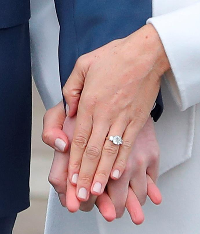 Meghan's ring in 2017, when announcing her engagement with Prince Harry.