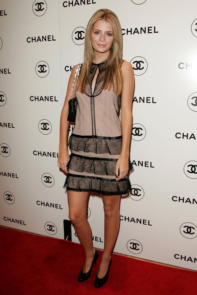 In a Chanel mini-dress in 2005.