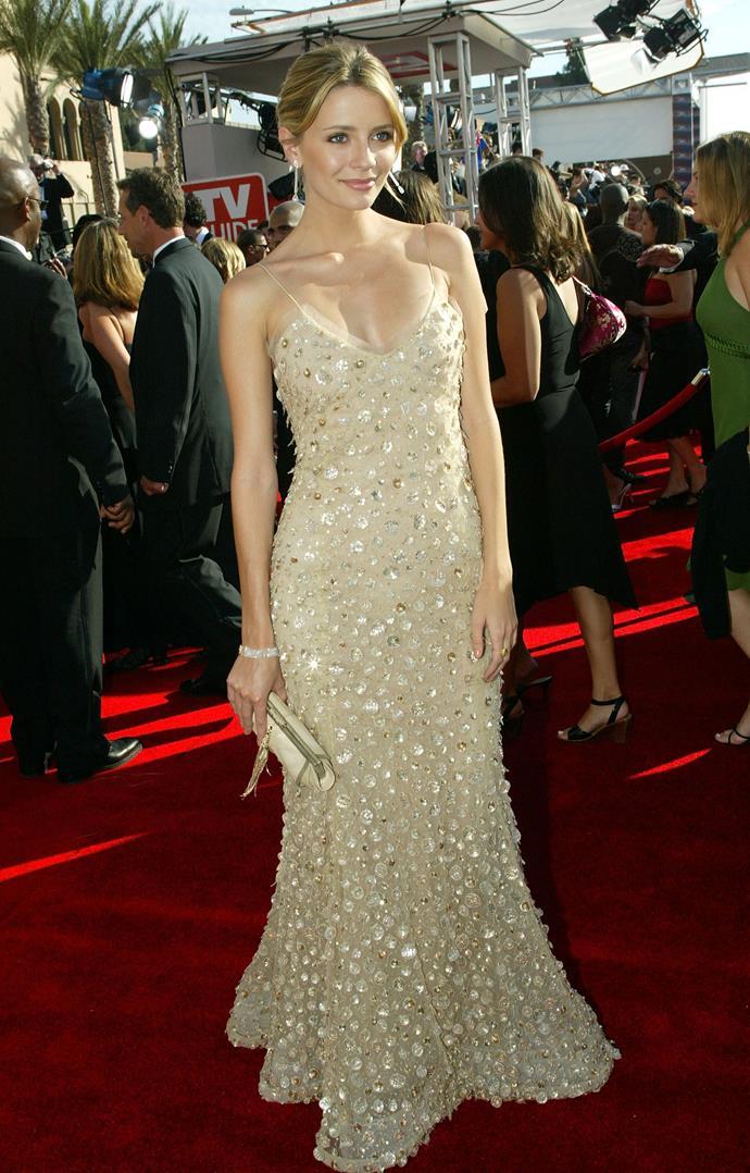 In an Oscar de la Renta gown at the 2005 Emmy Awards.