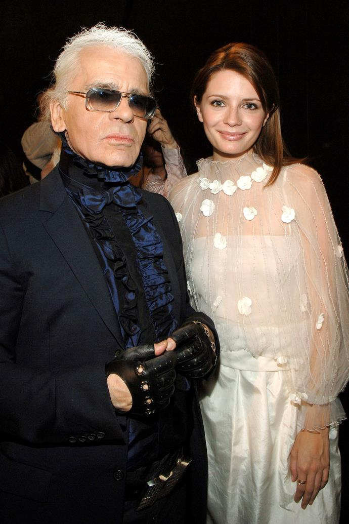 In Chanel in 2006, with Karl Lagerfeld.