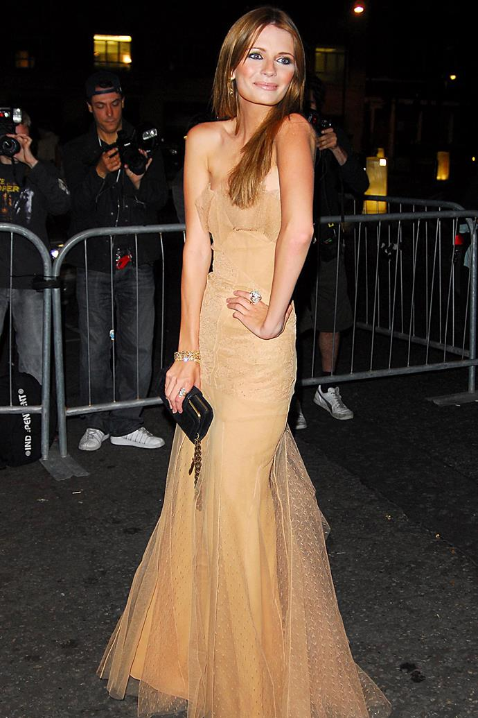In a nude-coloured tulle dress at a 2006 event.