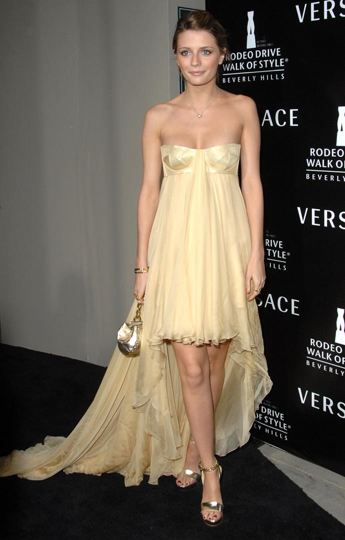 In a Versace strapless gown in 2007.