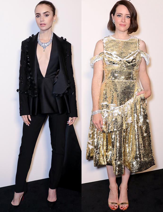 Lily Collins and Claire Foy at the Cartier Gala Dinner in London on June 14