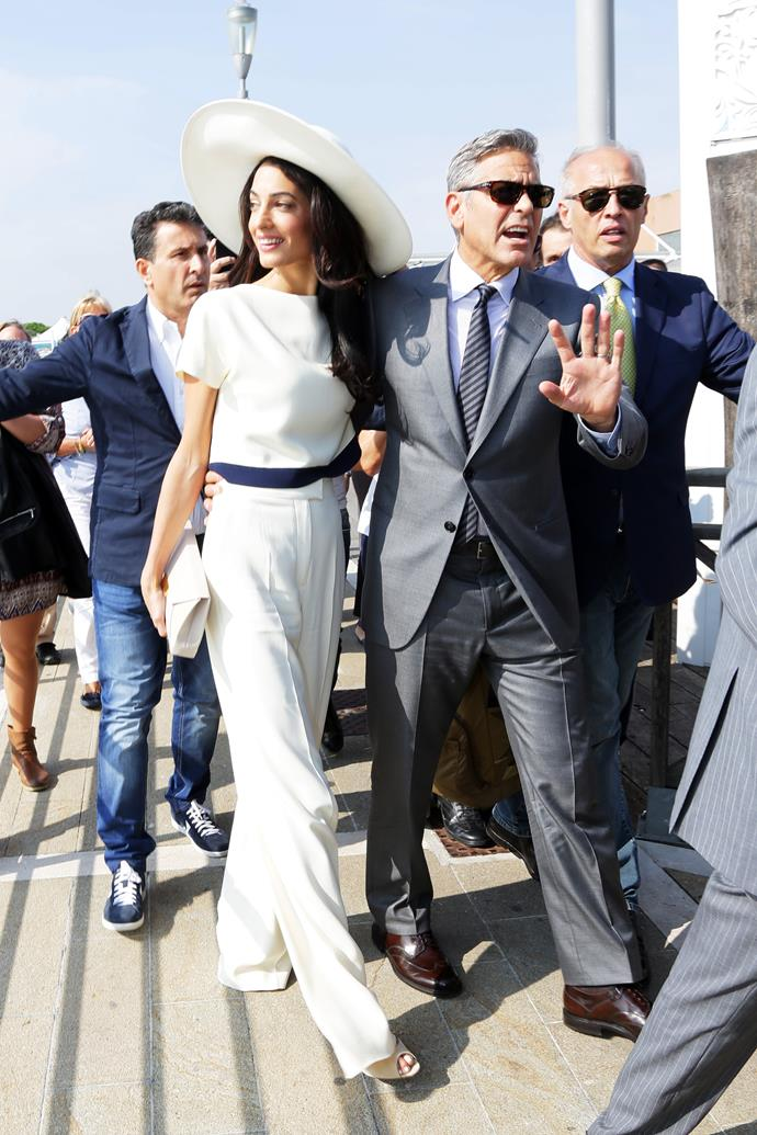 Amal and George Clooney at Venice's Marco Polo Airport in 2014.