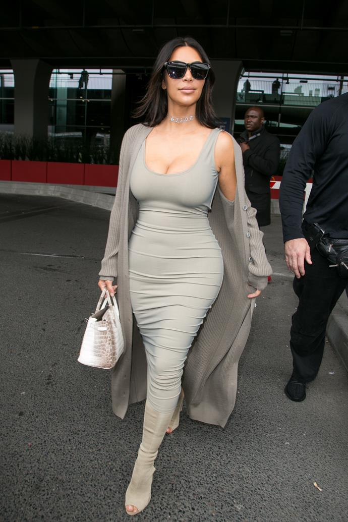 Kim Kardashian carrying a Himalayan Hermès Birkin bag in 2016.