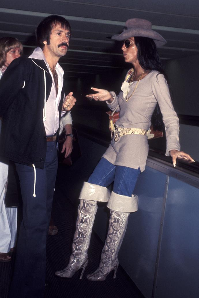 Cher and husband Sonny Bono in 1977.