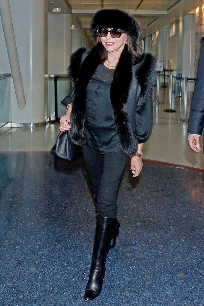 Joan Collins at LAX Airport in 2013.